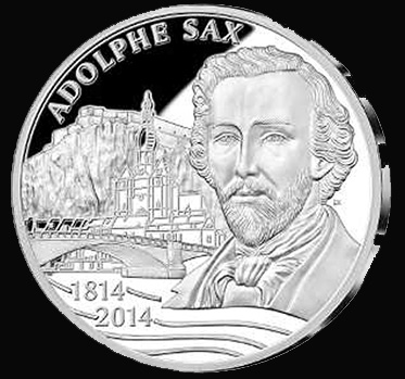 Belgium €10 2014. 200th birthday of Adolphe Sax. Silver Proof