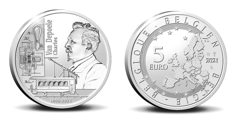 Belgium €5 2021. Charles van Depoele. Silver Proof