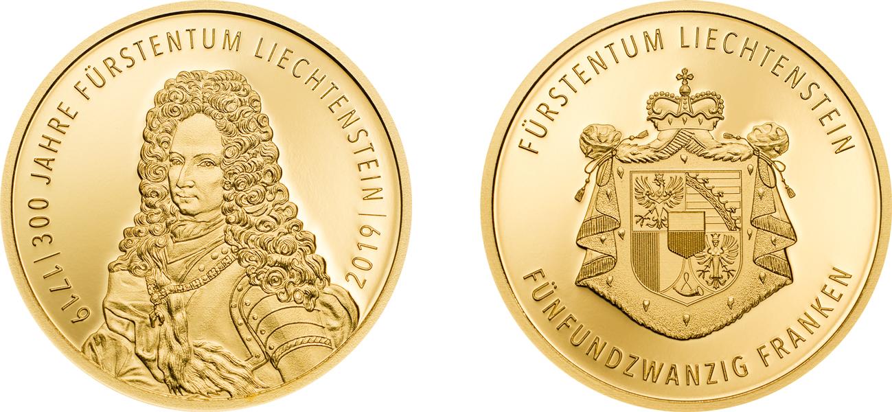 300 Years of Liechtenstein. 25 Franken 2019. Gold Proof