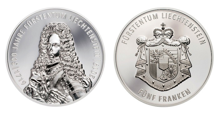 300 Years of Liechtenstein. 5 Franken 2019. Silver Proof