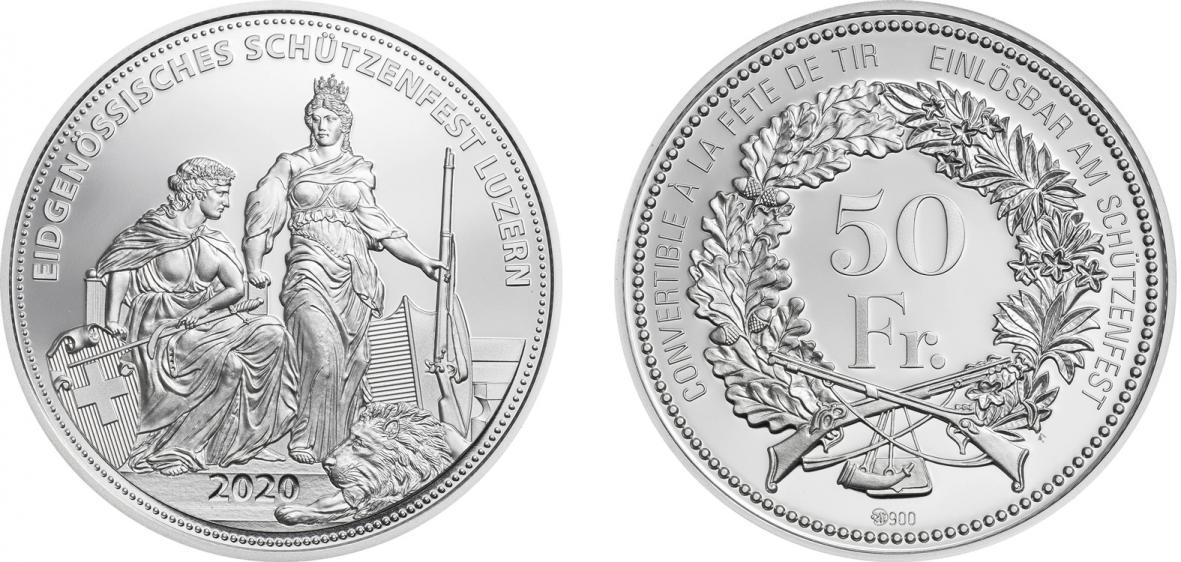Switzerland Shooting Taler. 50 Francs 2020. Silver Proof