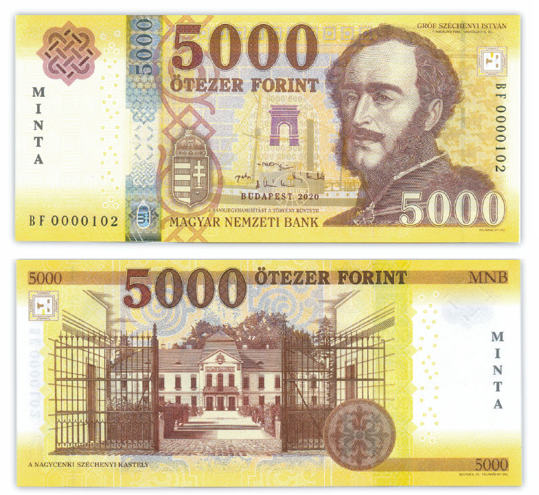 Hungary Specimen 5,000 Forint Banknote 2020. High Number
