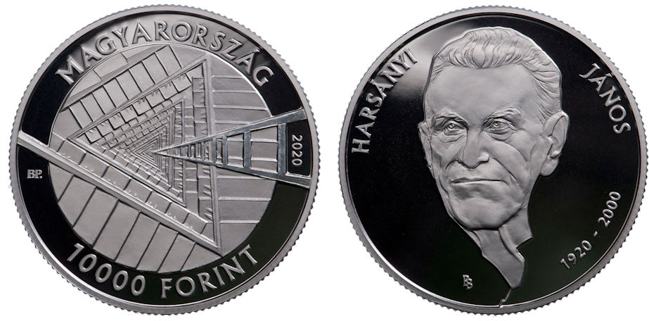 Hungary 10,000 Forint 2020. Centennial Birth of Hungarian-American Nobel Prize Winner János Harsanyi. Silver proof