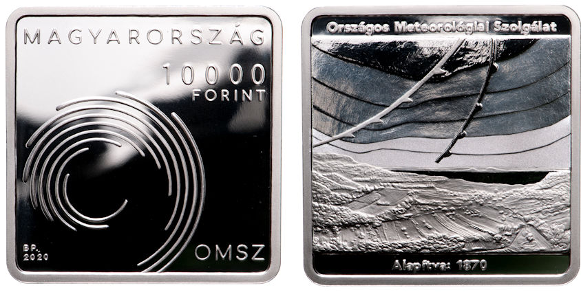 Hungary 10,000 Forint 2020. 150th Anniversary of the Hungarian Meteorological Service. Silver Proof