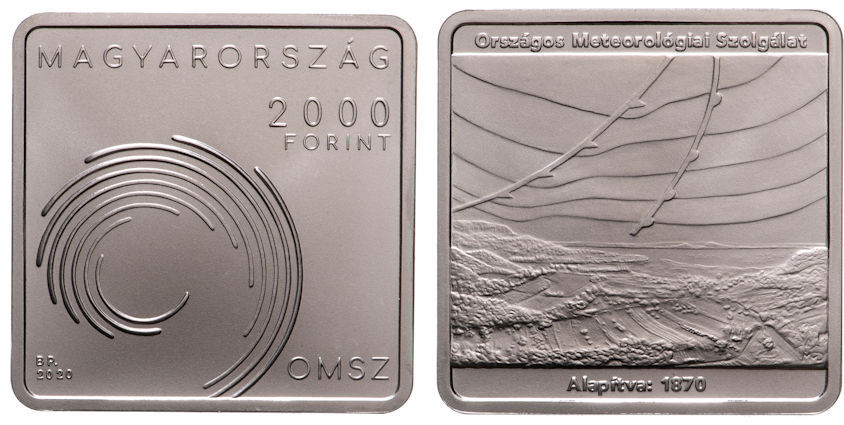 Hungary 2,000 Forint 2020. 150th Anniversary of the Hungarian Meteorological Service. CuNiZn BU
