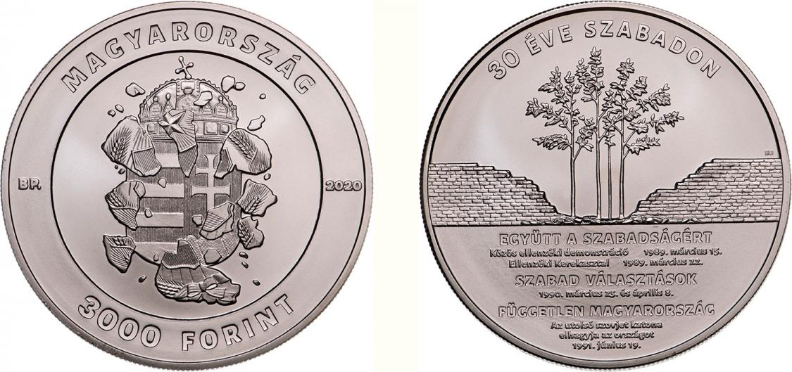 Hungary 3,000 Forint 2020. 30 Years of Freedom. Copper-nickel Uncirculated