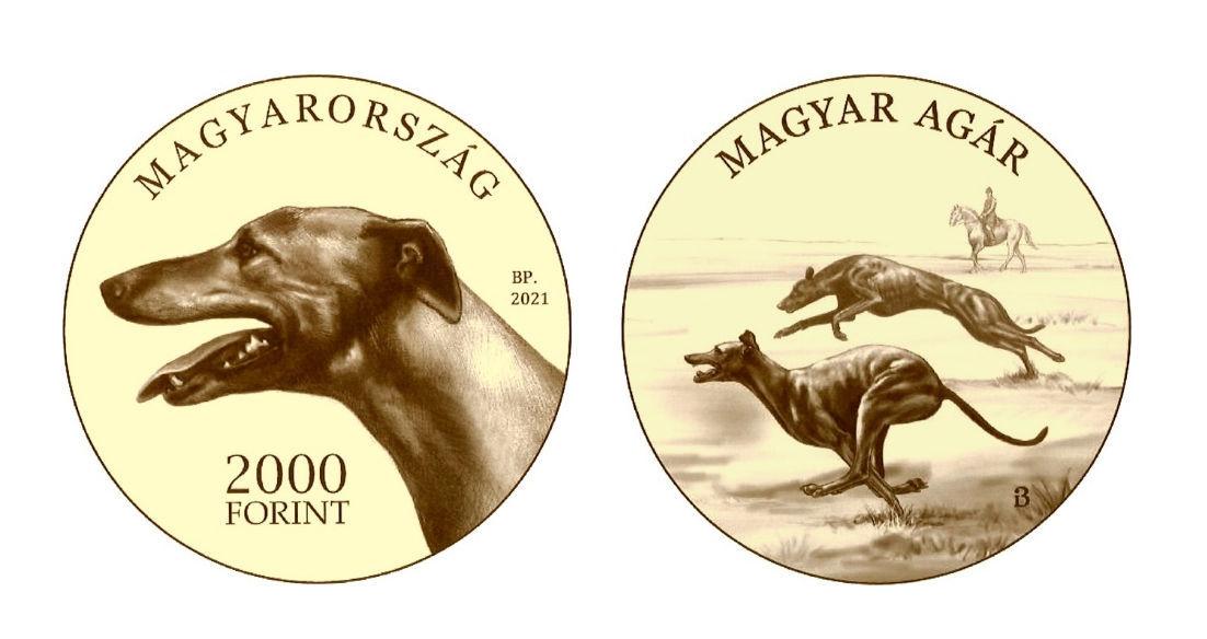 Hungary 2,000 Forint 2021. The Magyar Agar (Hungarian Greyhound). Prooflike