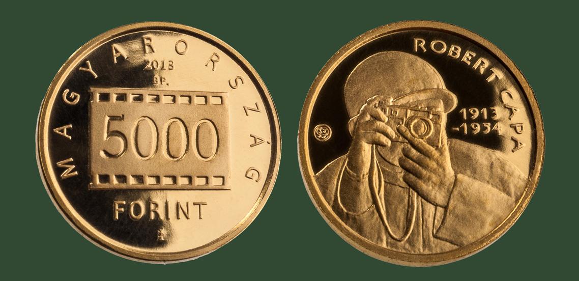 Hungary. 5,000 Forint 2013. 100th birthday of Robert Capa. Gold Proof.