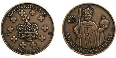 Hungary 3,000 Ft. 2021. Sovereigns of the Árpád Dynasty King St. Stephen. Matte Bronze Unc.