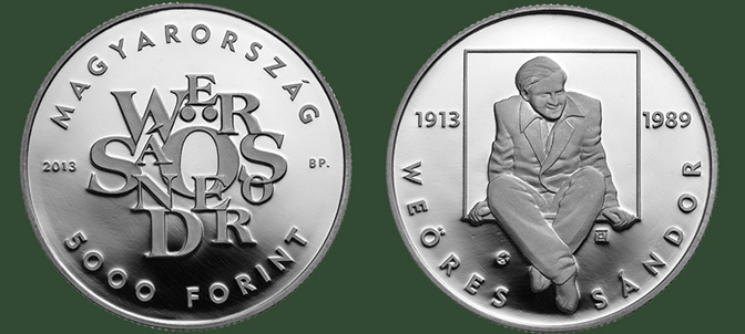 Hungary. 5,000 Forint 2013. 100th Anniversary of Birth of the Poet Sándor Weöres. Silver Proof