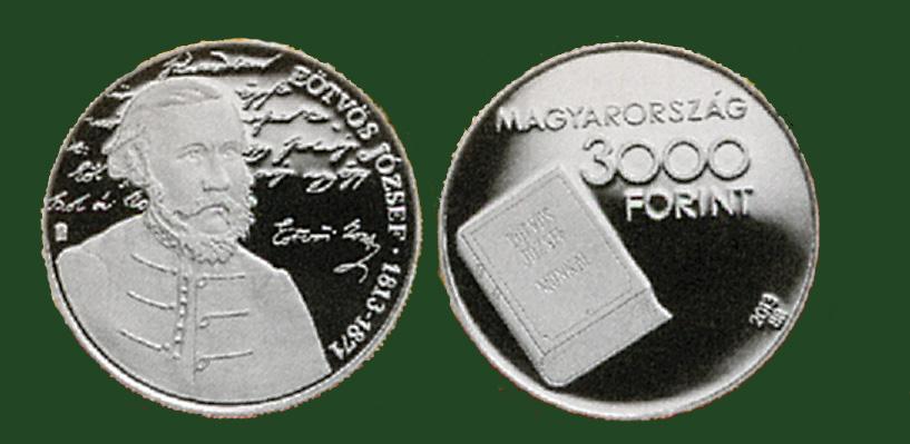 Hungary. 3,000 Forint 2013.  200th anniversary birth of József Eötvös. Silver Proof