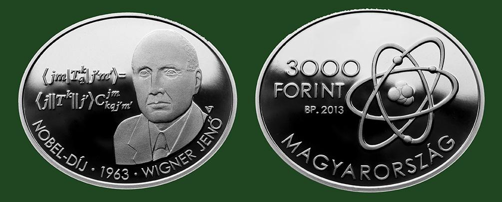 Hungary. 3,000 Forint 2013. Nobel Prize Winner Eugene Paul Wigner. Silver BU