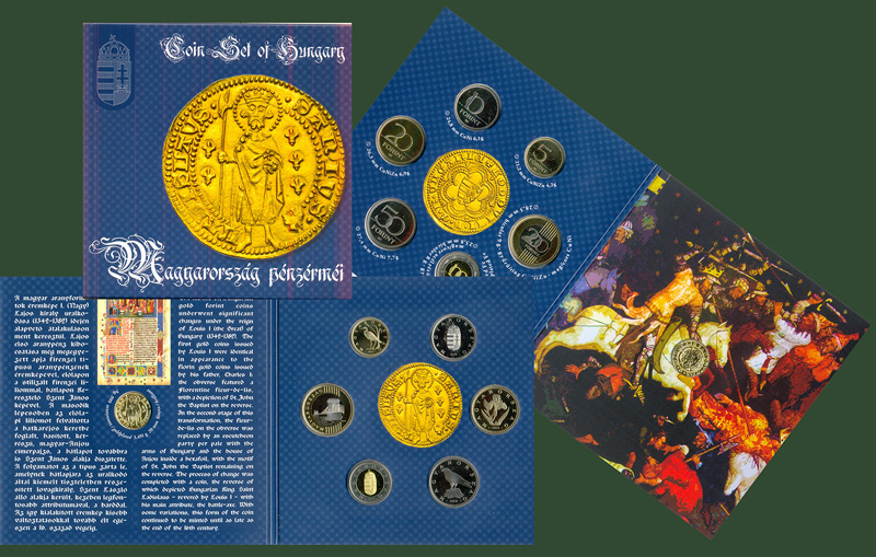 Hungary's 2013 Proof Set With gold plated silver restrike of a King Louis (the Great) Goldgulden