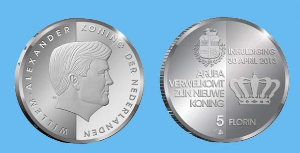 Aruba 5 Florin 2013. Silver Proof. Investiture of King Willem Alexander