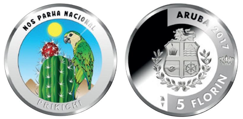 Aruba 5 Florin 2017. Prikichi. Silver Proof