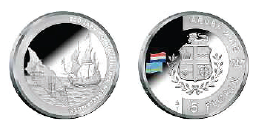 Aruba 5 Florin 2015.  200 years Kingdom of the Netherlands. Colored Silver  Proof