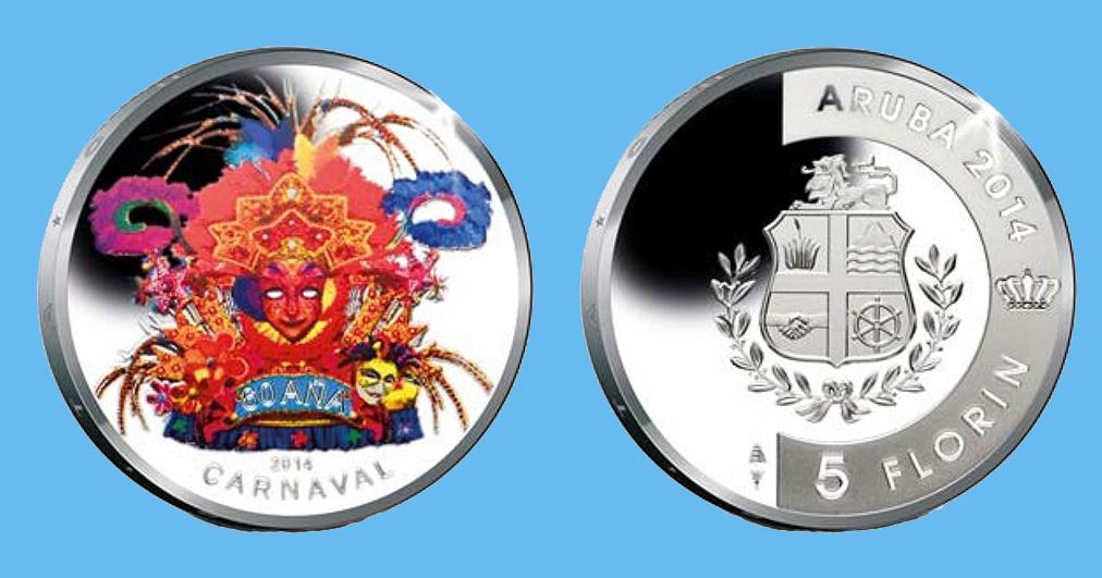 Aruba 5 Florin 2014. 60th anniversary of Carnival. Silver Proof